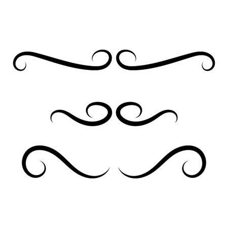 black elegant line for vintage ornament, vector illustration Illustration