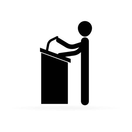 speaker near the podium with microphone, man speaker, vector illustration