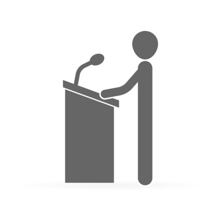 speaker near the podium with microphone, man speaker, vector illustration