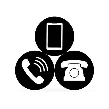 Communication button. White phone set. Retro telephone and smartphone icon. Vector illustration. Illusztráció