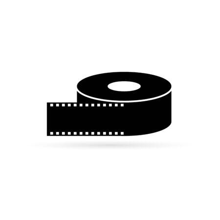 black film ribbon icon, vector illustration