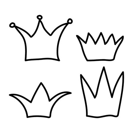 set crown icon, flat style, isolated on white background. symbols for your web site design, app, UI, vector illustration