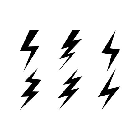 Lightning vector set icon. Thunder charging power for electricity energy and batteries. Thunderstorm