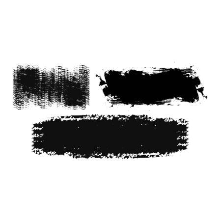 Set of black ink brush strokes shapes for decor of banners, frames, inscriptions in grunge design. Set of black paint, lines. Dirty artistic design elements. Vector illustration.