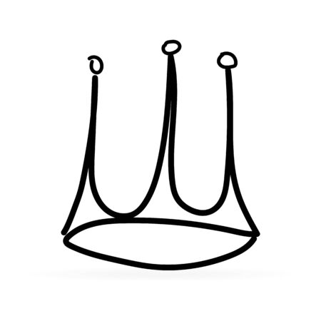 Linear drawing by hand. Childrens drawing. Black crown on a white background. Icon for website design, application, user interface etc. Vector illustration. Çizim