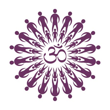 The circular mandala of om people in the center is the om sign. Symbol of oriental philosophy in purple. Abstraction in the shape of a flower. Vector illustration. Ilustração