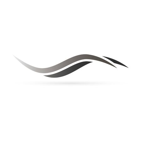 Símbolo de onda o cabello negro y gris, ilustración vectorial