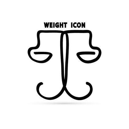 scales of justice sign, court of law and ethics symbol, weight icon, abstraction, vector illustration Stock Illustratie