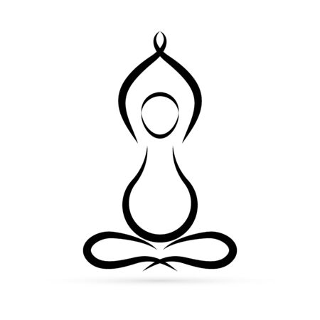 Pregnancy yoga icon. Lotus design. Silhouette woman for studio, class and school yoga. Vector illustration. Ilustração