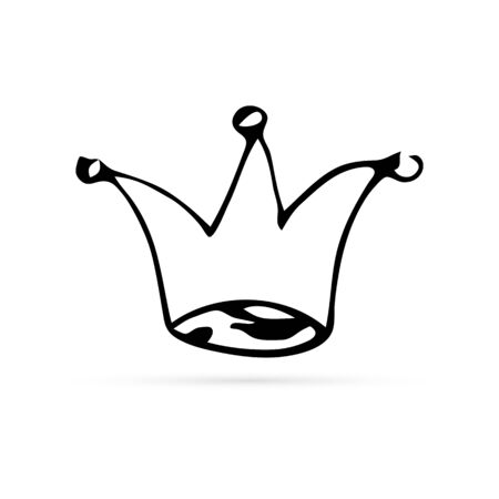 Doodle drawing by hand. Childrens drawing. Black crown. Icon for website design, application, user interface etc. Vector illustration.
