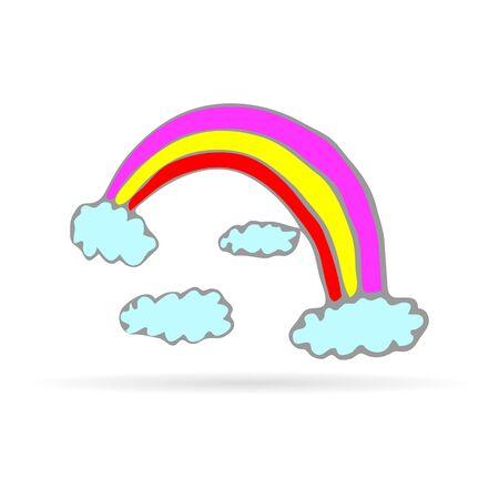 doodle handdrawing rainbow icon, children art, vector illustration