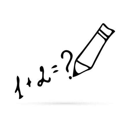 doodle line art, mathematic symbol, handdrawing, vector illustration Иллюстрация
