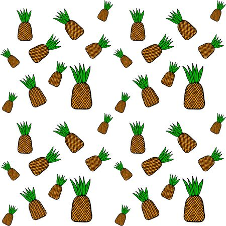 colored pineapple pattern, doodle handdrawing food, vector illustration