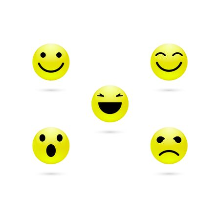 Set of yellow smiley face icons or emoticons with different facial expressions in glossy isolated in white background. Vector illustration