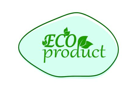 eco banner with leaf, green frame with green text, vector illustration