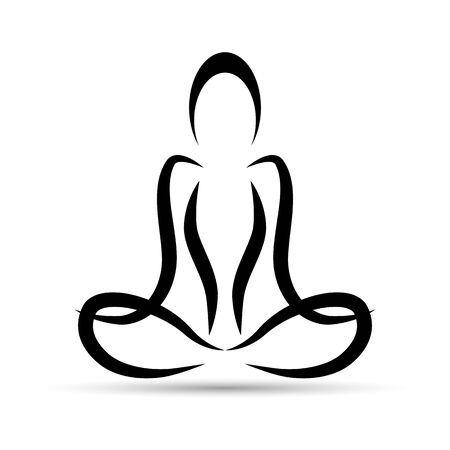 Yoga Lotus position. Vector silhouette of yoga woman. Lotus pose. Padmasana. Asana.