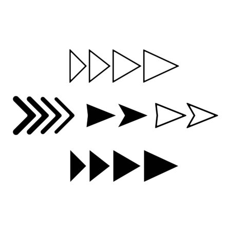 set black arrows, linear triangle, collection icons, vector illustration