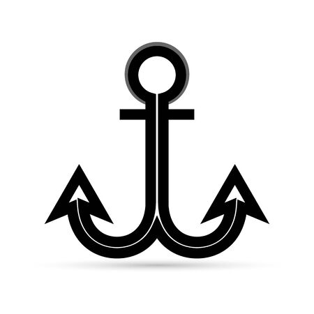 black anchor icon, vector illustration Иллюстрация