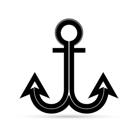 black anchor icon, vector illustration Ilustração