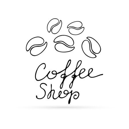 Doodle corn of coffee with lettering. Line art icon. Vector illustration.
