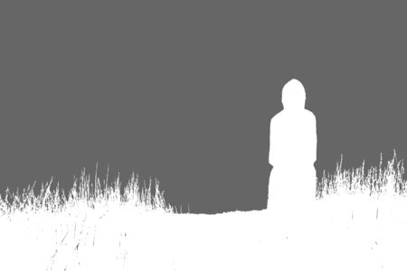 the silhouette of scythian, a gray and white picture, vector illustration  イラスト・ベクター素材