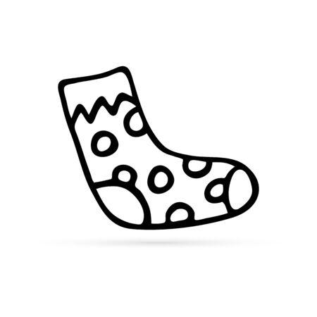 doodle sock icon, hand drawing vector illustraton