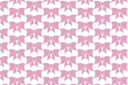 pink bow pattern, colored ribbon, vector illustration