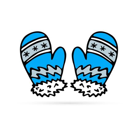 doodle mittens icon, winter sign, hand drawing vector illustration Иллюстрация