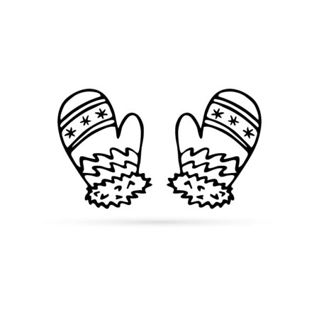 doodle mittens icon, winter sign, hand drawing vector illustration