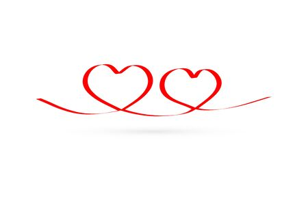linear red heart, hand drawing icon, doodle stile, vector illustration Иллюстрация