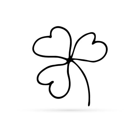 doodle leaf of clover icon, hand drawing vector illustration