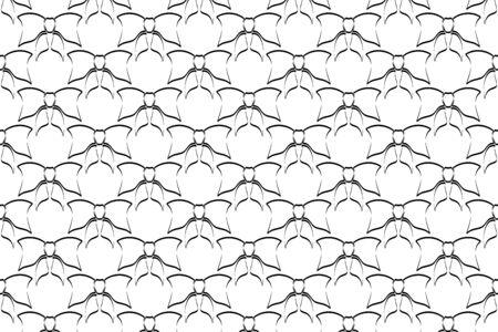 black bow pattern, linear ribbin, vector illustration