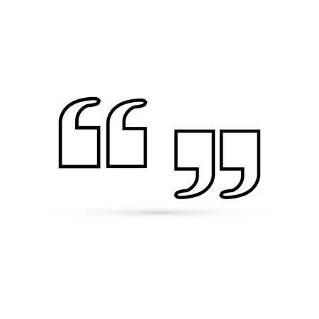 Linear quotes icon. Black quotations mark for text on white background. Vector illustration.