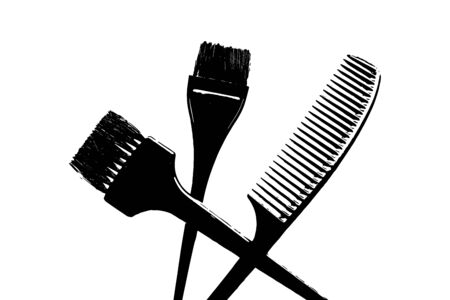 Brush hair dye, comb icon. Vector illustration