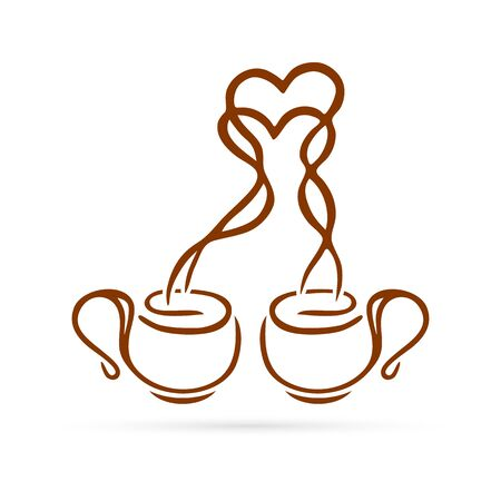 Doodle drink icon. Romantic two cups of coffee or tea with hearts. Hand drawing toast vector illustration.