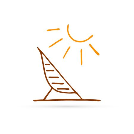 doddle recliner with sun icon, kids hand drawing vector illustration