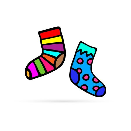 doodle sock icon, hand drawing vector illustraton