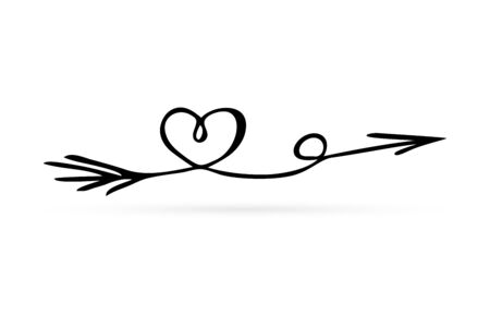 doodle arrow with heart, hand drawing art line, vector illustration Stock Illustratie