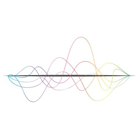 Sound wave icon. Colored music sound waves on white background. Audio, musical pulse. Vector illustration. Çizim