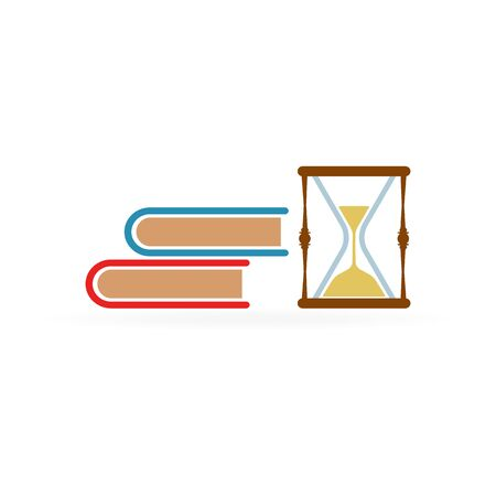 Books with hourglass icon on white background. Clock send. Vector illustration.