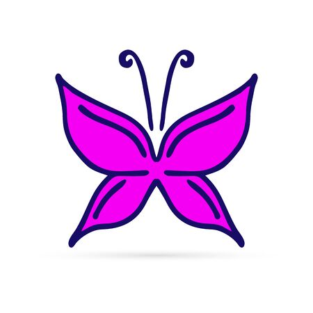 doodle line butterfly icon, hand drawing style, vector illustration