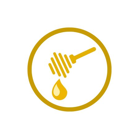 Dripping honey. Honey ladle. Spa therapy icon. Element relaxation and rest icon. Gold honey icon. Vector illustration. Иллюстрация