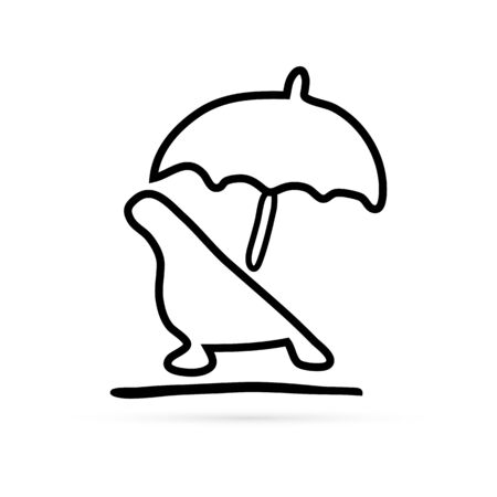 doddle recliner with umbrella icon, vector illustration