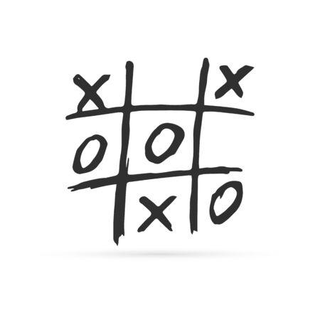 Doodle jeu de tic tac toe avec icône croix et cercle, image de dessin à la main pour enfants, dessin au trait, illustration vectorielle