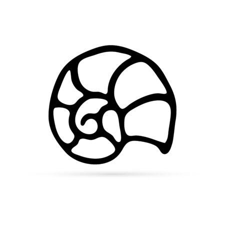 doodle skorupiaki ikona, rysunek ręka dzieci, ilustracji wektorowych