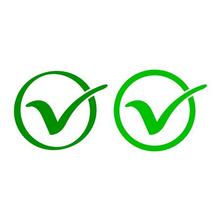 Green check mark icon. Tick symbol in circle. Vector illustration.
