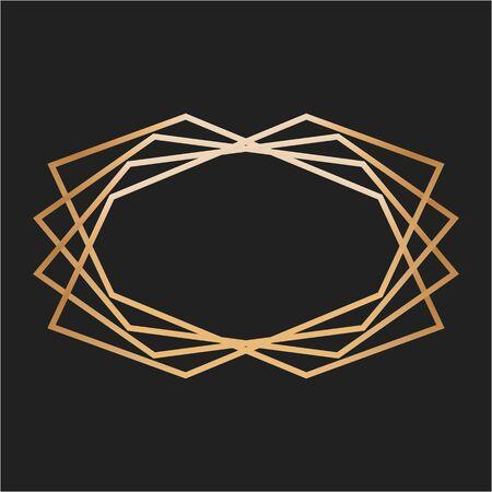 frame in vintage design on black background. Design element for text. Vector illustration.