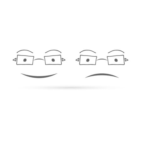 doodle glasses icon, kids hand drawing art line, peope vector illustration