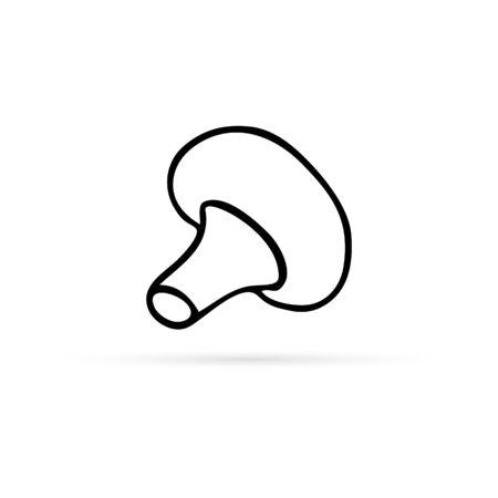 doodle mushroom icon, vegetable healthy food, kids hand drawing, vector illustration Illustration