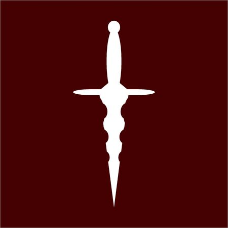 dagger, knife icon, sword with sharp blade, contour of dirk